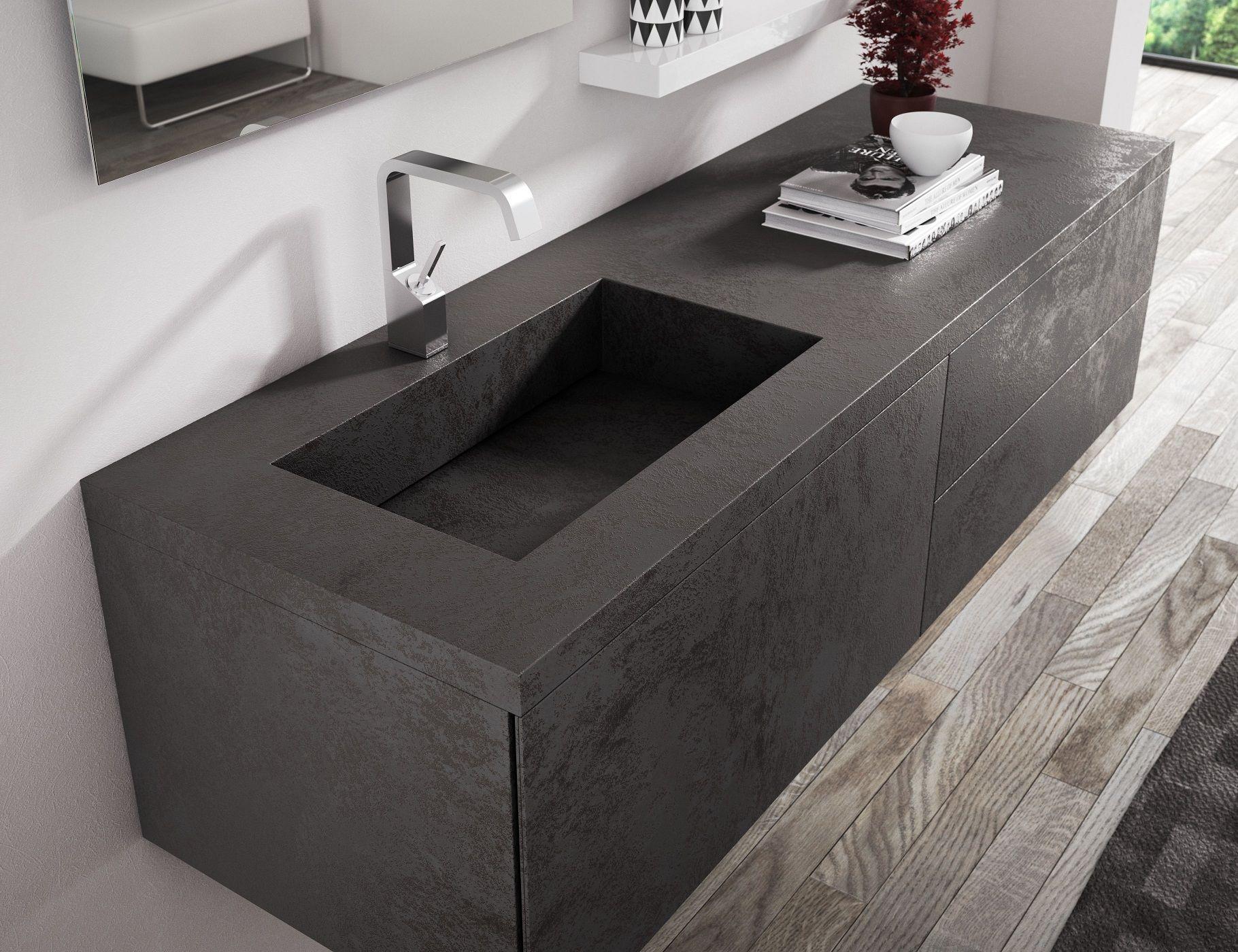 Top l 161 p 54 h 4 cm in laminam oxide nero con vasca - Lavandino bagno nero ...