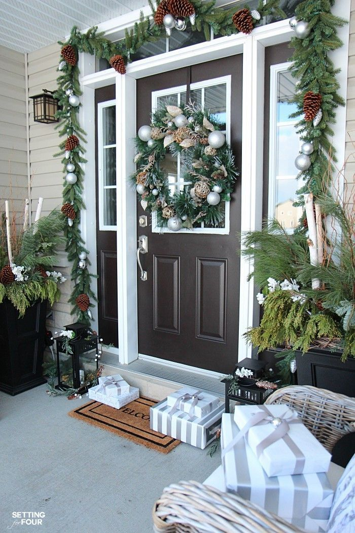 Neutral And Elegant Christmas Home Tour Outdoor Holiday Decor Lantern Christmas Decor Christmas Entryway