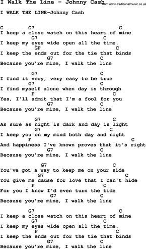 Song I Walk The Line By Johnny Cash With Lyrics For Vocal