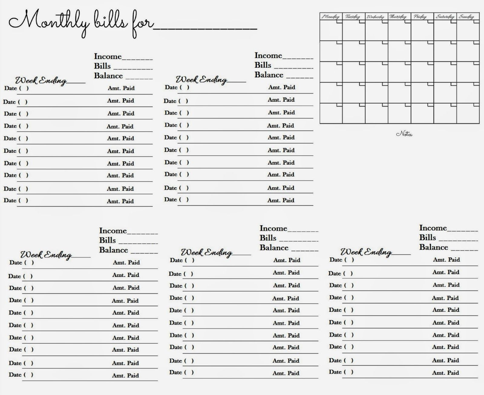 Worksheet To Keep Track Of Paid Monthly Bills