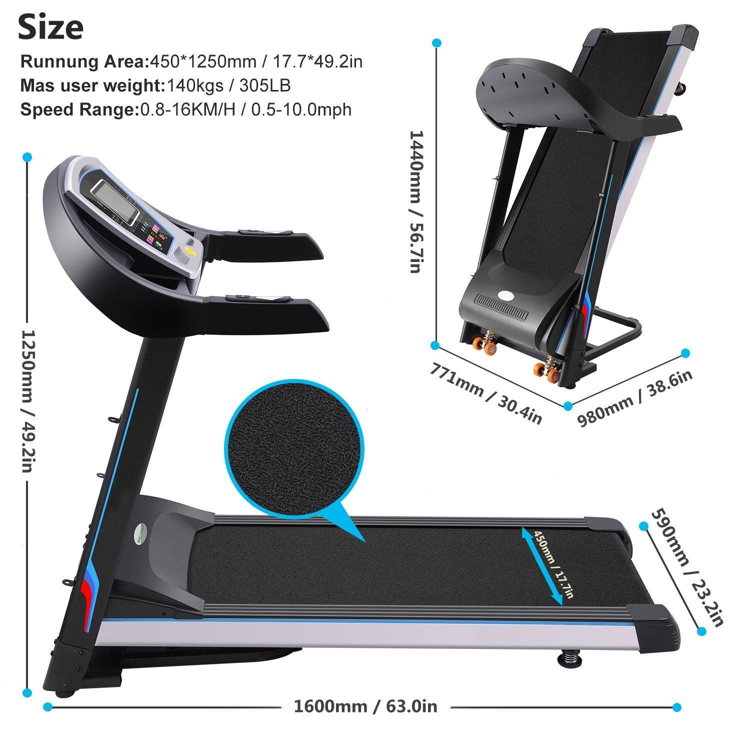 Asatr Easy Assembly Motorized Running Machine with 7 WIFI