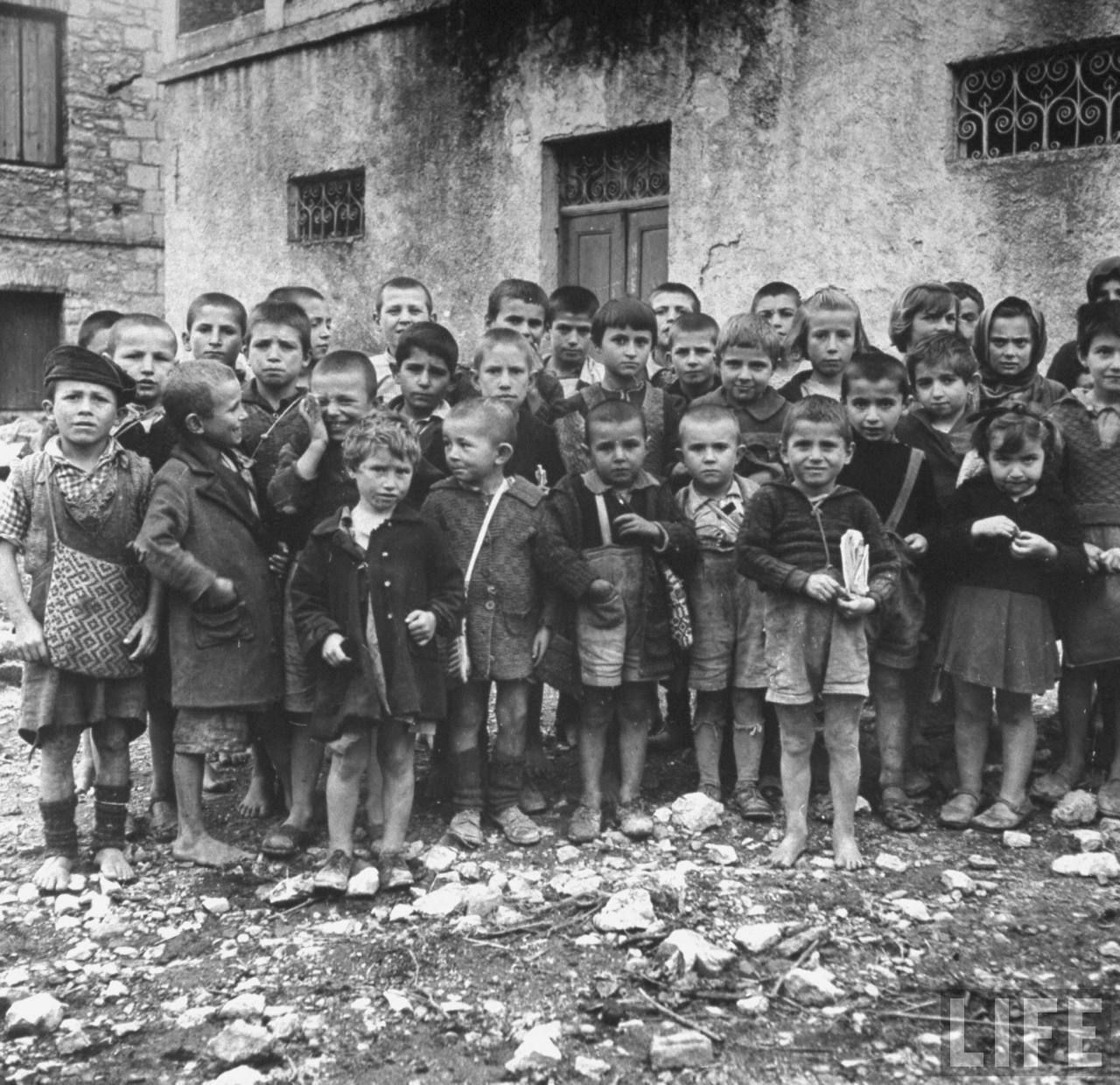 Greek children, mostly orphans,during WWII.  Location: Greece  Date taken: October 1944