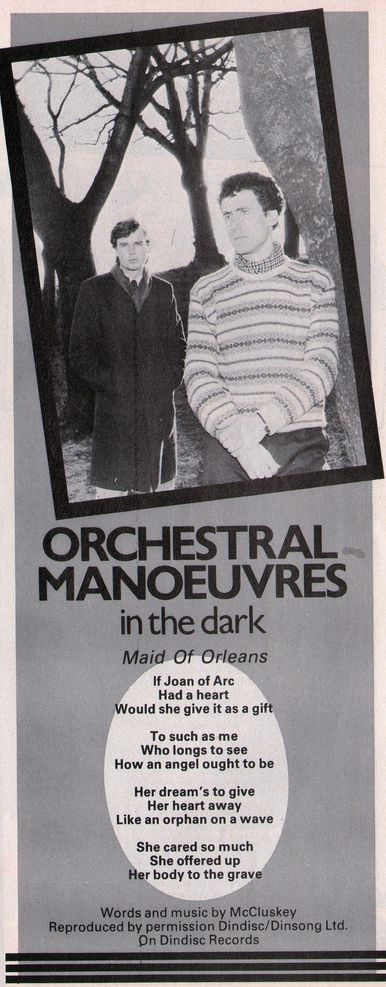 OMD, Maid Of Orleans, Single by Orchestral Manoeuvres in the Dark from the album Architecture & Morality, 1982