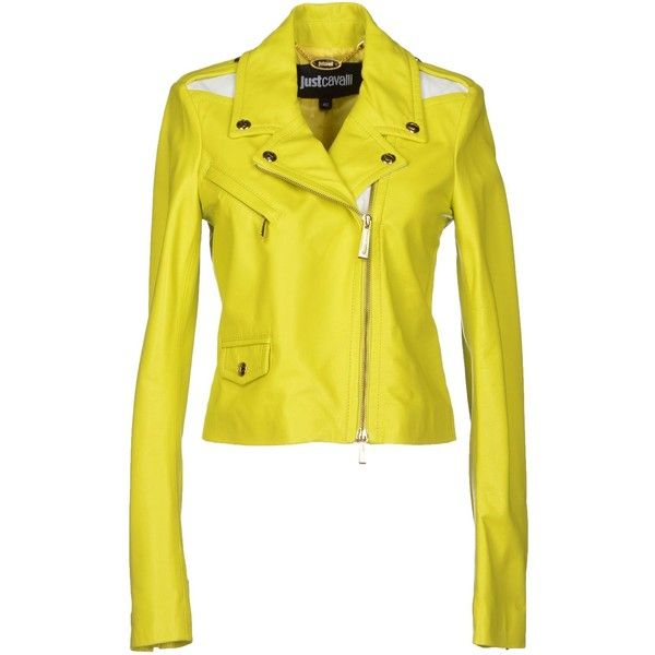 Just Cavalli Jacket ($500) ❤ liked on Polyvore featuring outerwear, jackets, acid green, just cavalli jacket, just cavalli, lamb leather jacket, yellow jacket and green jacket