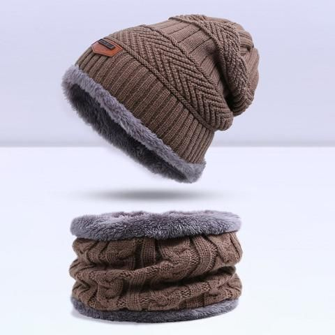 Fashion Knitted Warm Skullies Beanies Winter Hat for Men - 6 Colour Khaki + Collar Scarf  Skullies & Beanies For Men   Men's Fashion 2017 Guys Winter Fashion Casual Menswear Cool Style Gift Knit Products Website Store Shop Buy Sell Sale Online Shopping mens Accessories fall autumn