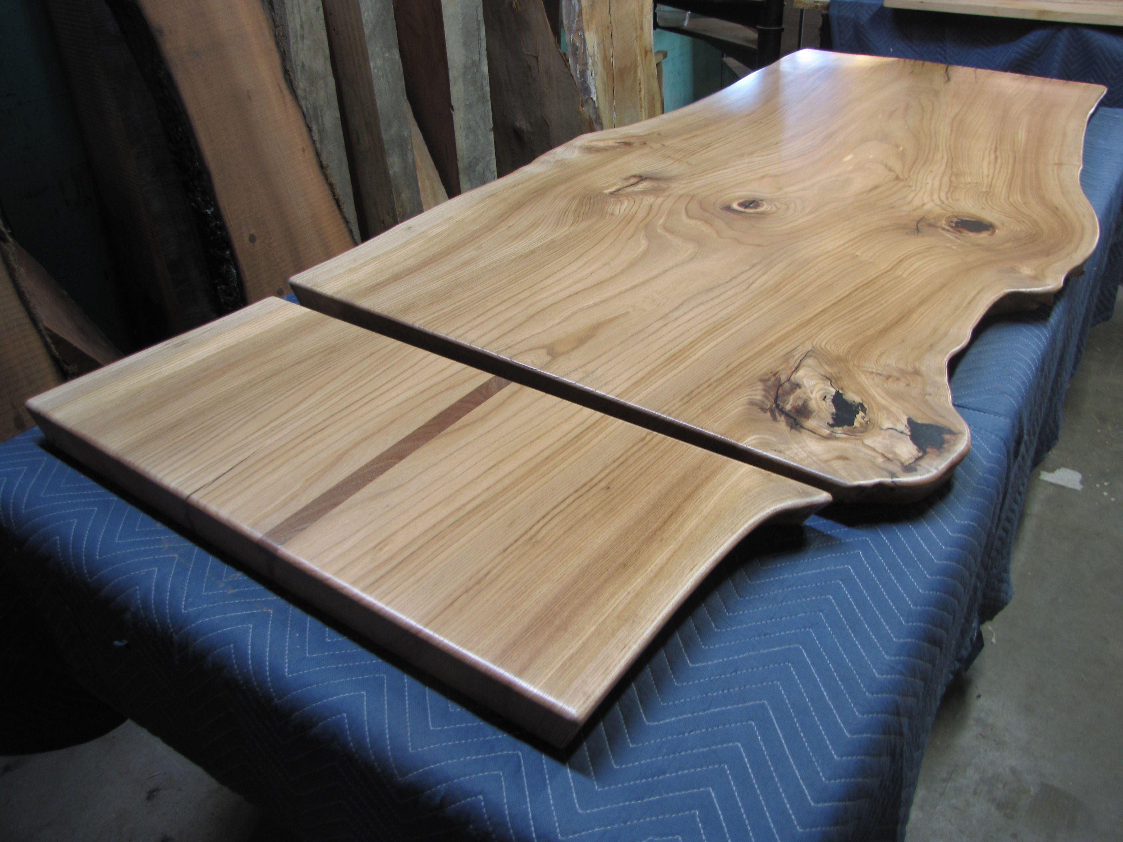Reclaimed Wood Slab Table - Elm slab table top and bench top with teak stripe spline