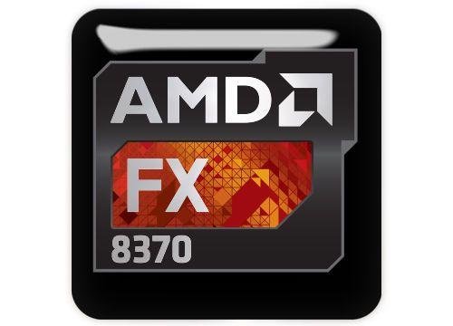 """AMD FX 8370 1/""""x1/"""" Chrome Domed Case Badge Sticker Logo"""