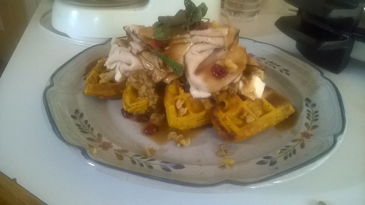 My newest creation!!! Thanksgiving on a pumpkin waffle.