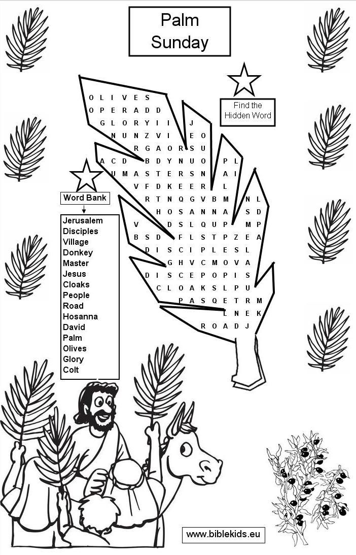 Palm sunday word seach puzzle palm sunday crafts for Palm sunday coloring page