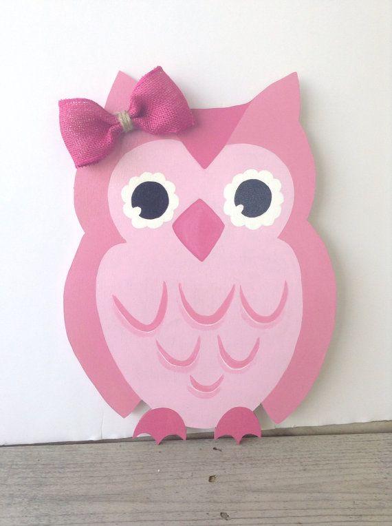 Cute Pink Owl Wall Hanging Door Decor Wreath By Monilulis 30 00
