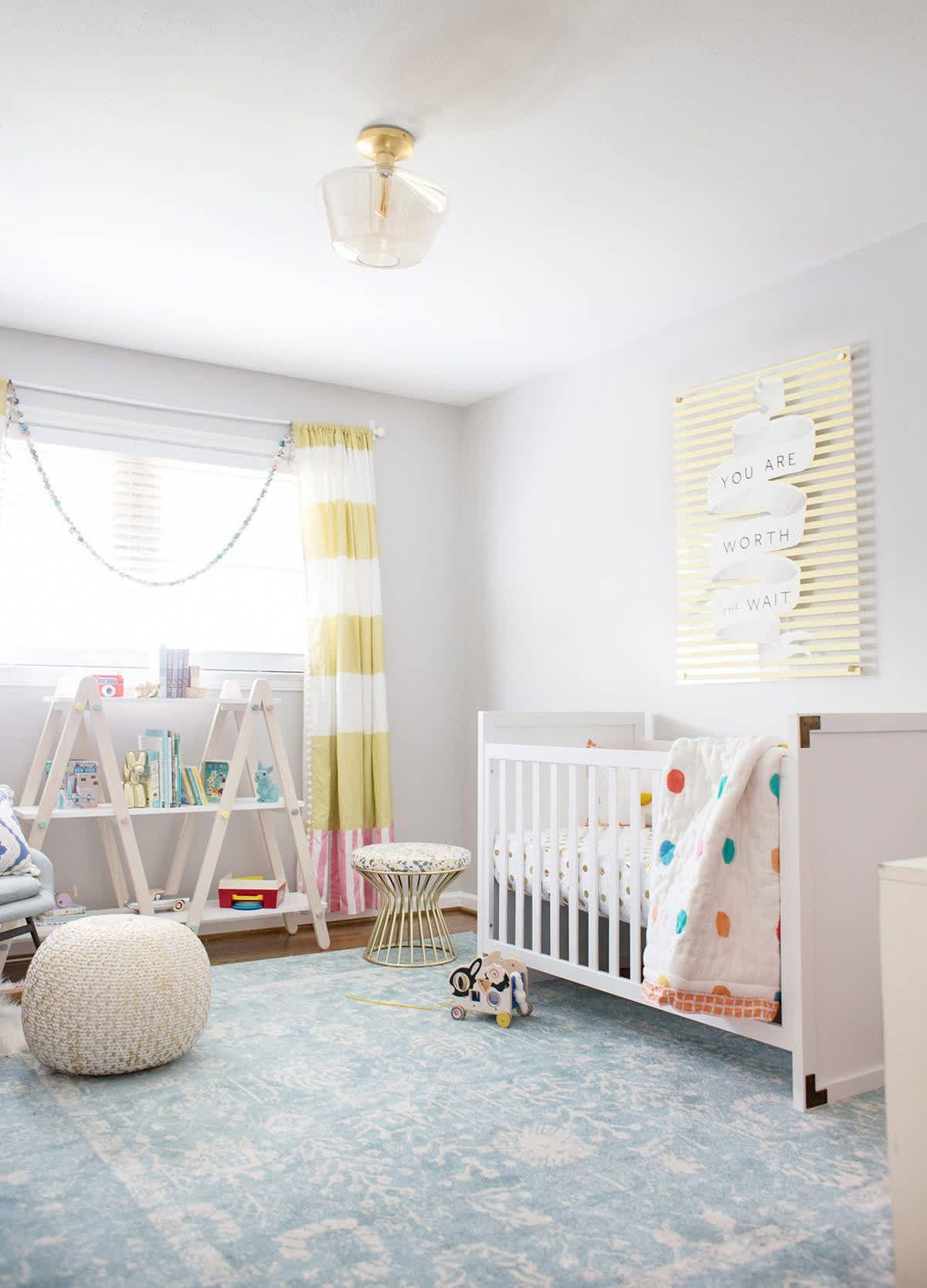 yellow and gray neutral nursery ideas featuring the Miles