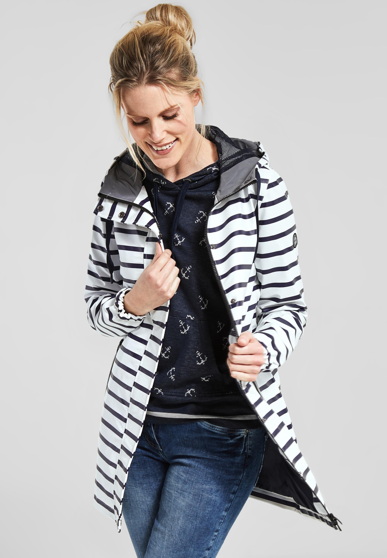 6fc06d4f08800a CECIL - Regenjacke mit Streifendesign und funktionellen Details. #mode  #damenmode #outfits #