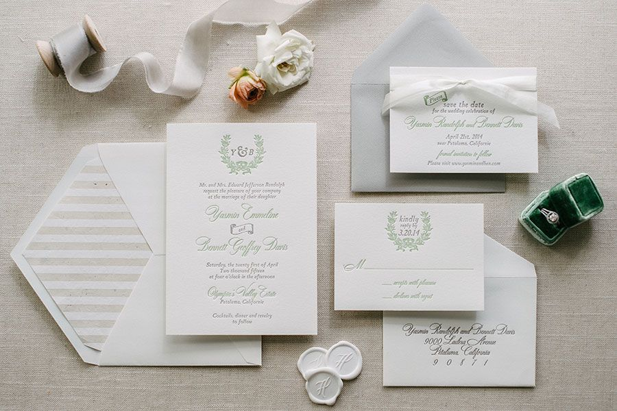 Aerialist Press Charleston Letterpress Wedding Invitation