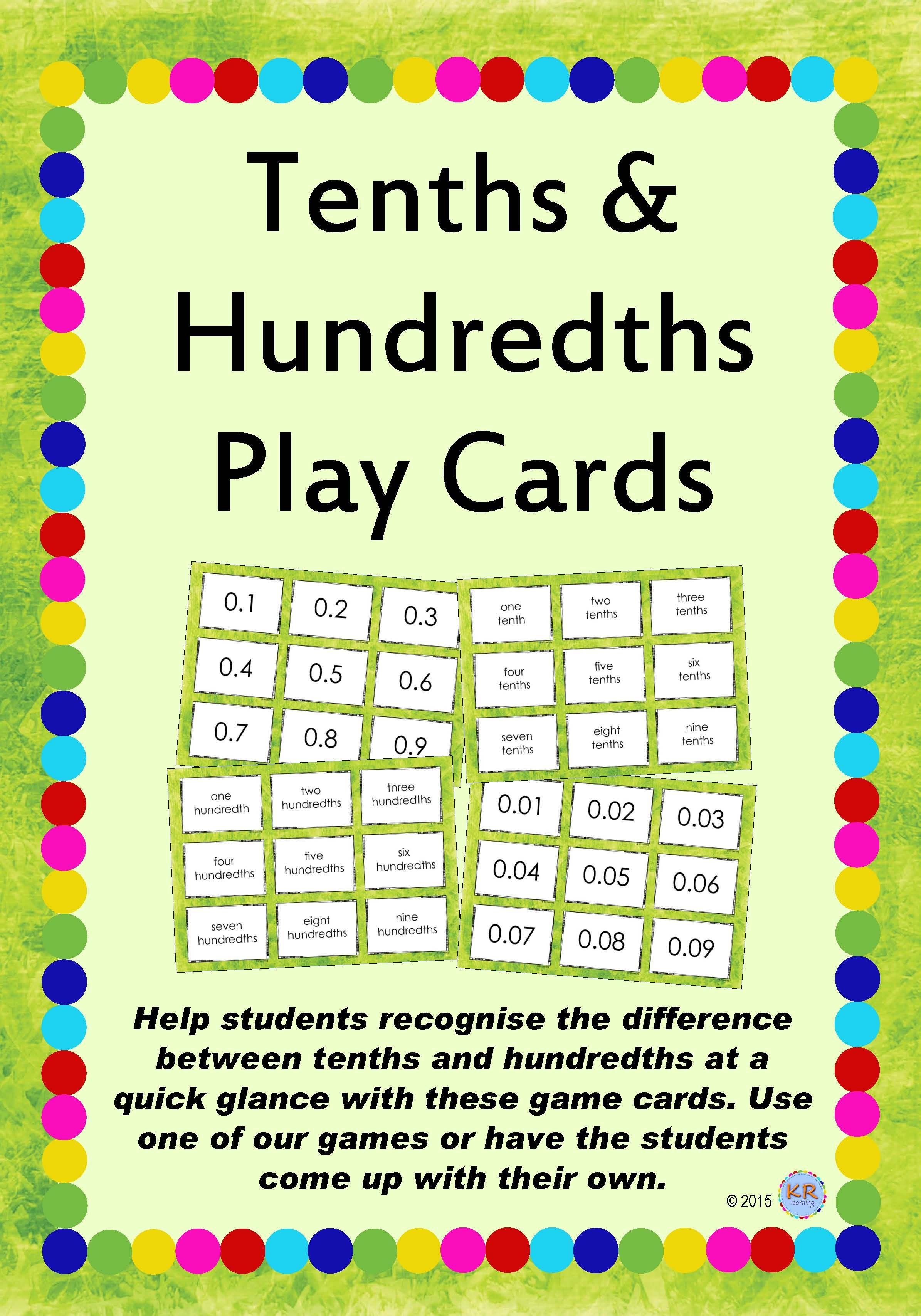Tenths Amp Hundredths Game Playing Flash Cards For Teaching