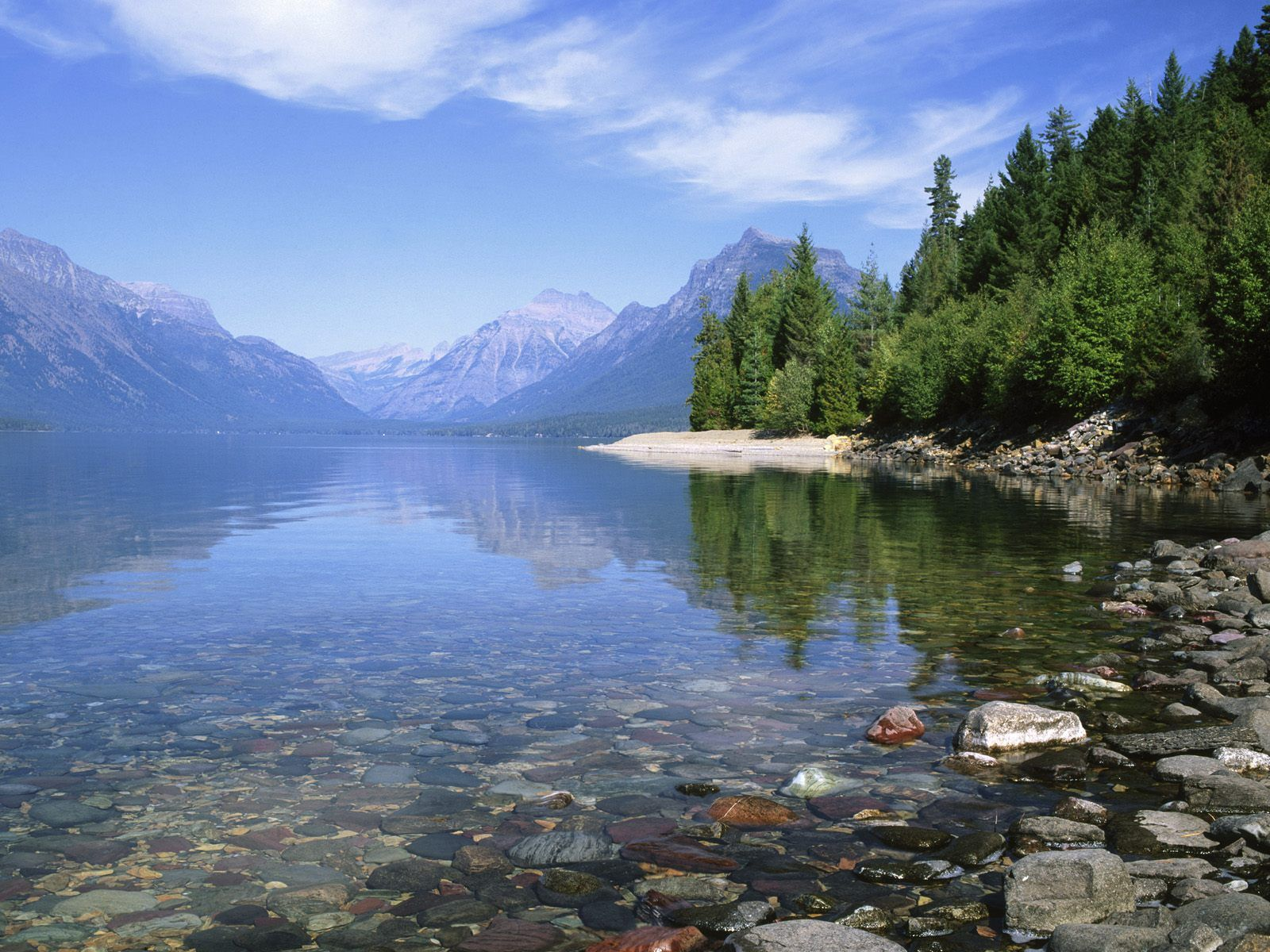 Lake Mcdonald in Glacier National Park.  Sat in a lawn chair and tried to read but it was too beautiful.  I ended up just staring at the Mts.  Wish I'd worn my aqua socks - ouchy rocks.
