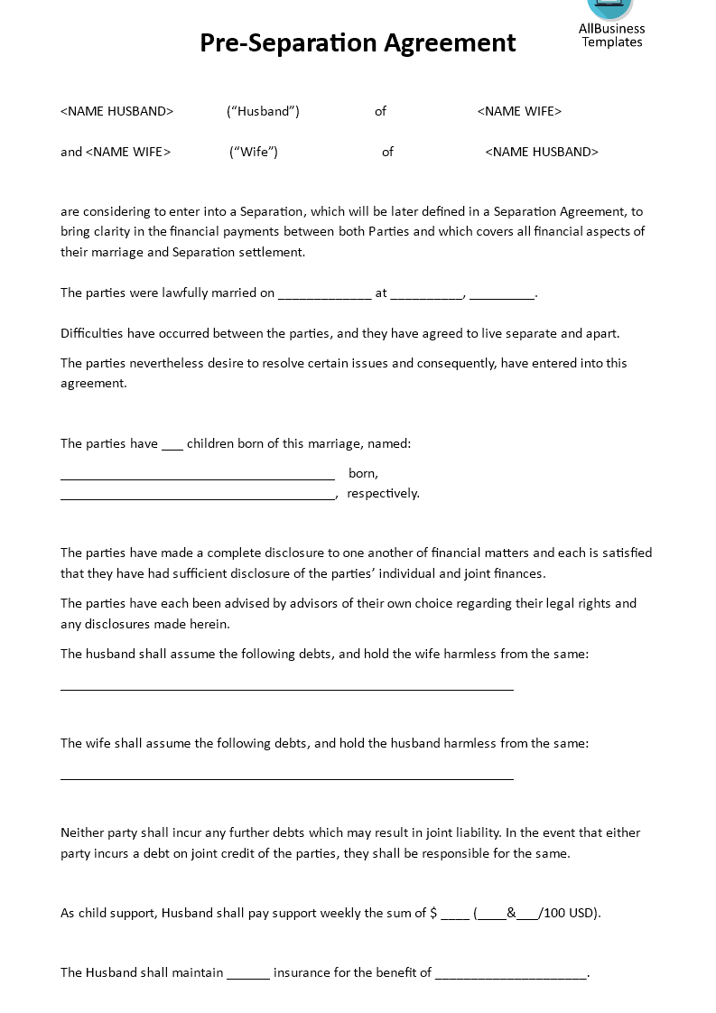 Pre-Separation Agreement - Download this pre-separation agreement ...