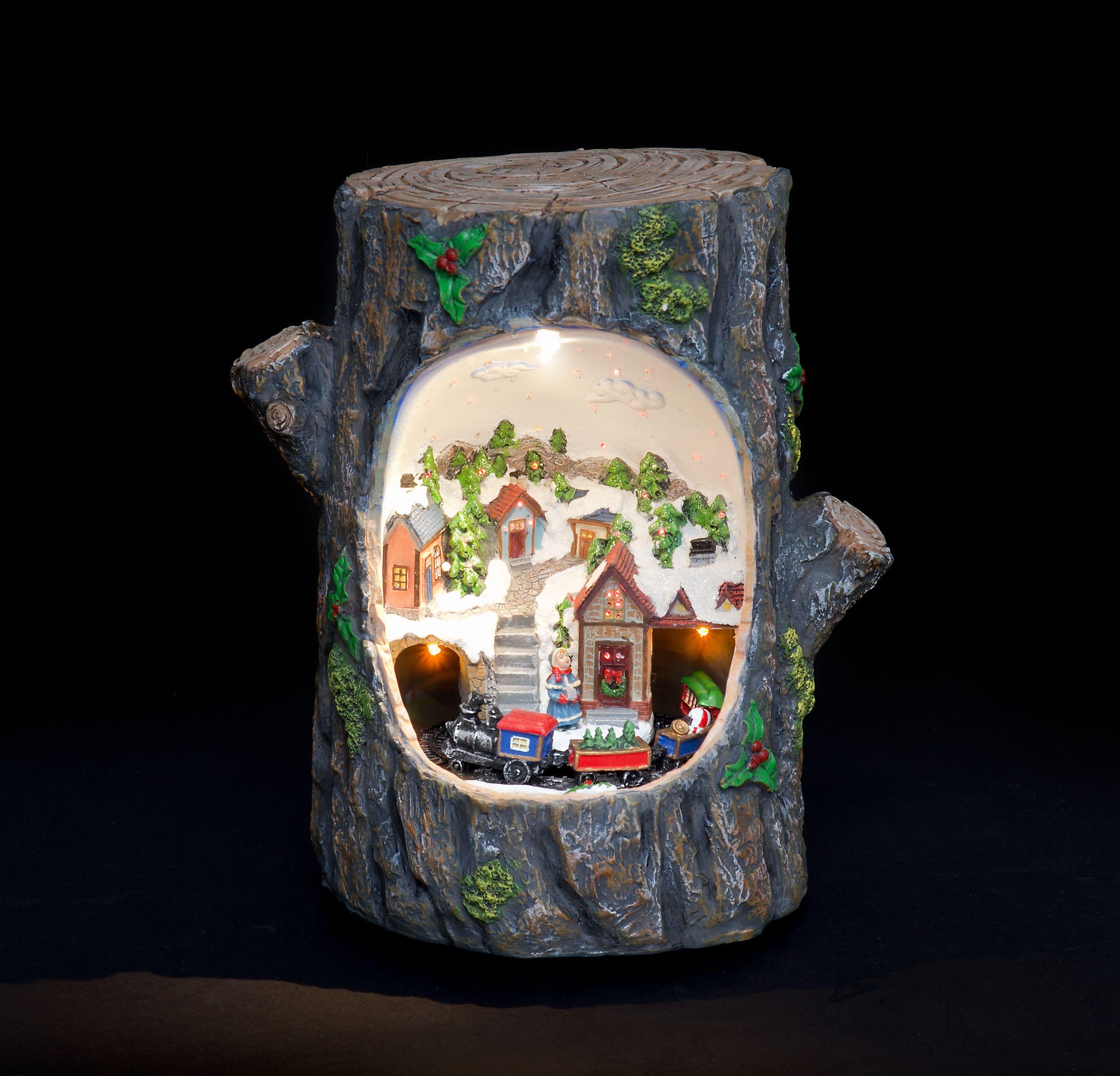 Flying santa fibre optic christmas decoration - Fibre Optic Led Tree Trunk With Train And Village Scene Dual Power Ukchristmasworld