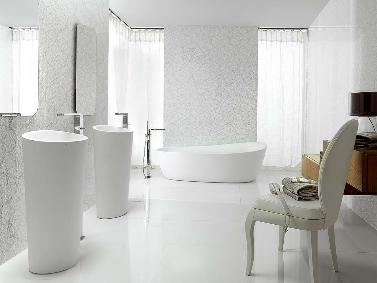 Elegant Bathroom With Porcelanosa S Tiles Floor Tiles Crystal Flower White Wall Tiles Nacare Bathroom Furniture Design Bathroom Wall Tile Bathroom Design