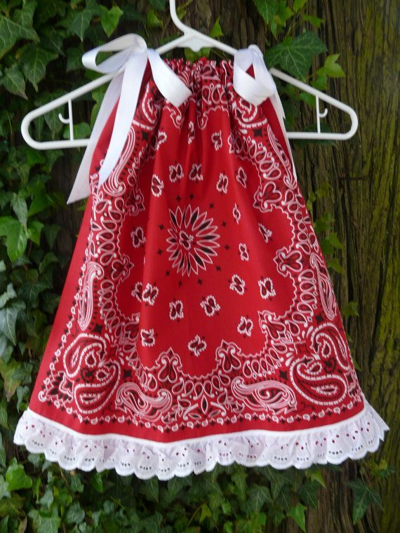 custom listing for bandana pillowcase swing top western girls red size 8