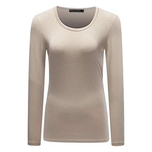 1d74f7fb52e Women s Long Sleeve T-Shirt Scoop Neck Plain Basic Spandex Tee – T-Shirts  Life  tshirt  longsleeve