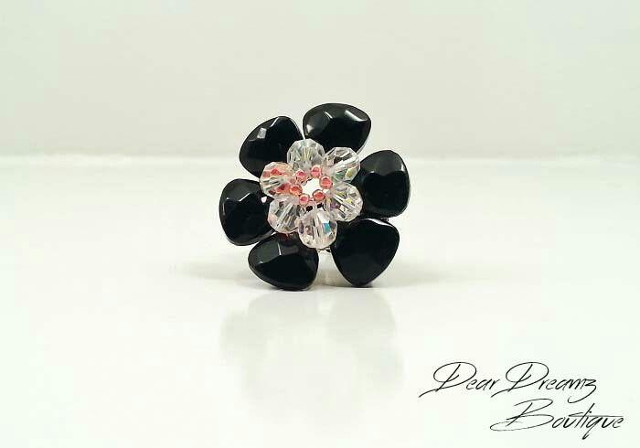 Black Swarovski flower ring. Available in sizes 7, 8, 8.5. $12. #DearDreamz #Boutique #Ring #FashionJewelry #Swarvoski #BeadedRing #Black #Beautiful #Flower #LoveIt