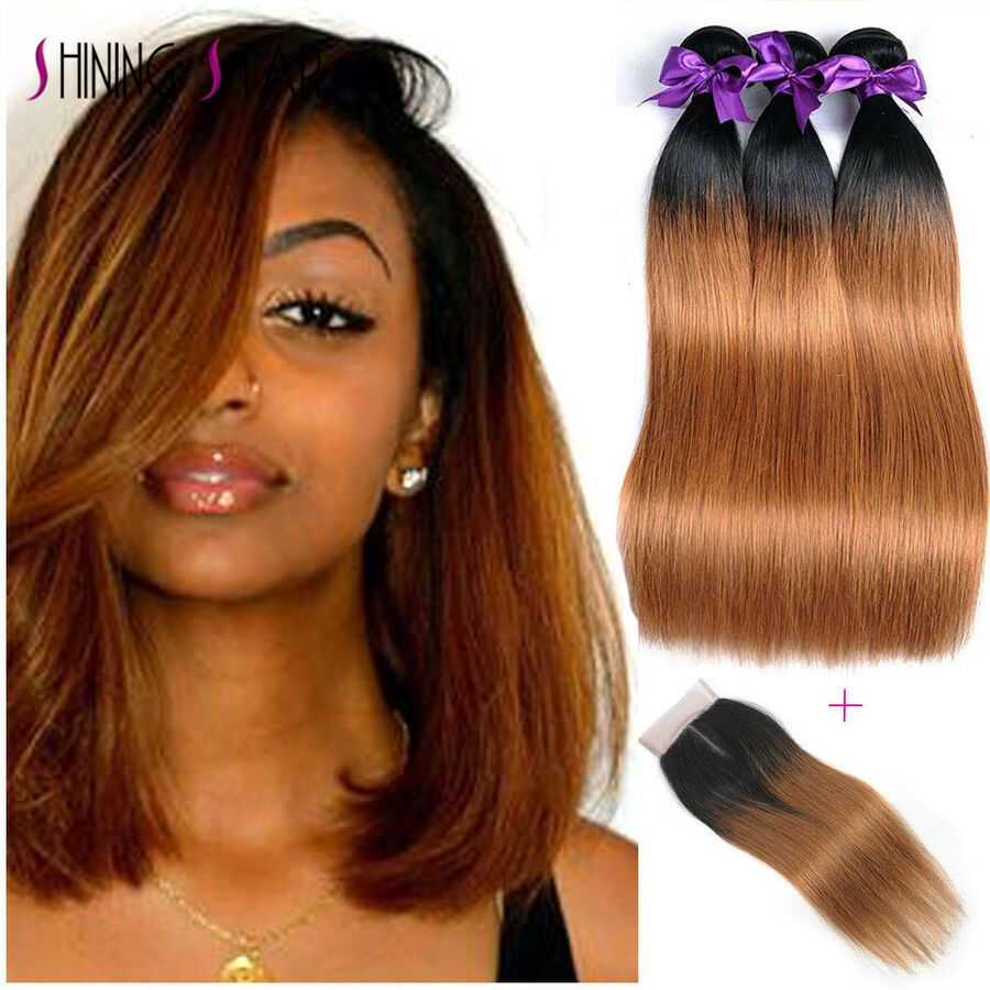 1B/30 Ombre Brazilian Hair 3 Bundles With Closure 8A Brown