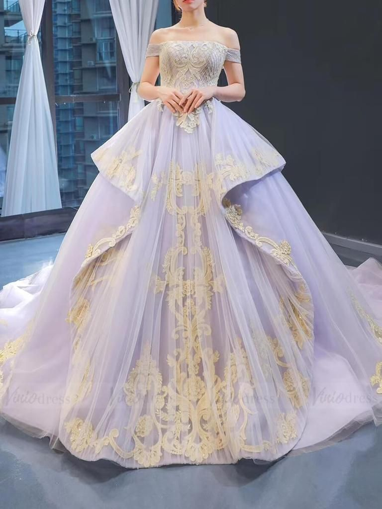 Vintage Lilac Princess Ball Gowns Gold Lace Quinceanera Dresses FD1088
