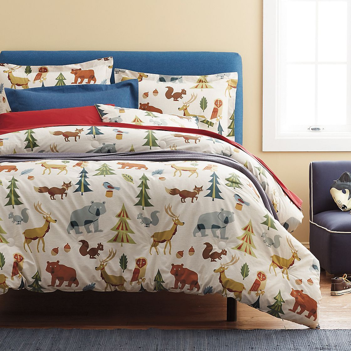 this kids sheet bedding set is covered with all their favorite forest friends made from soft count cotton percale