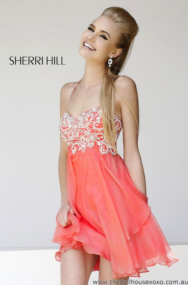Short Coral Prom Dress | Coral Prom | Pinterest | Homecoming ...