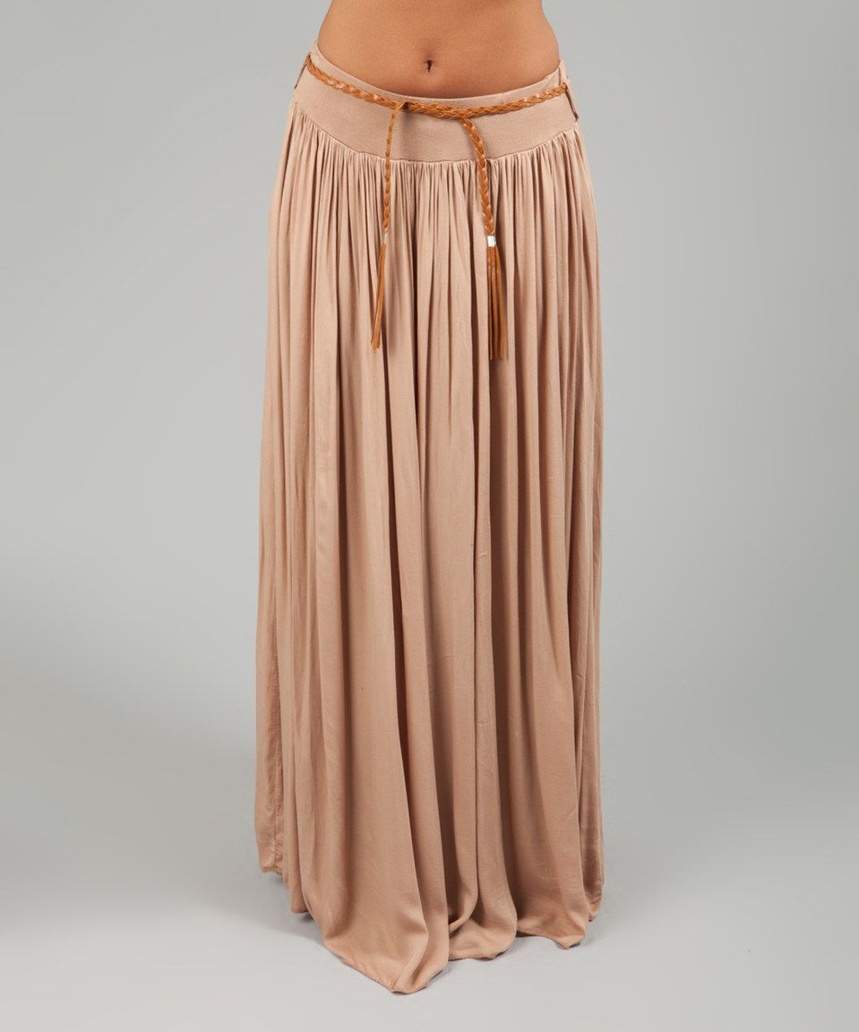 Love this Beige Belted Kudrow Skirt by des si belles on #zulily! #zulilyfinds