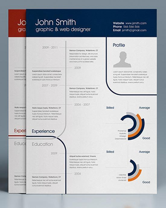 CleanOnePageResume Design Pinterest Infographic resume