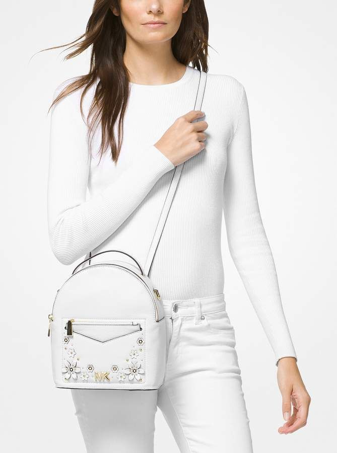 12a758324c47 MICHAEL Michael Kors Jessa Small Floral Embellished Pebbled Leather  Convertible Backpack
