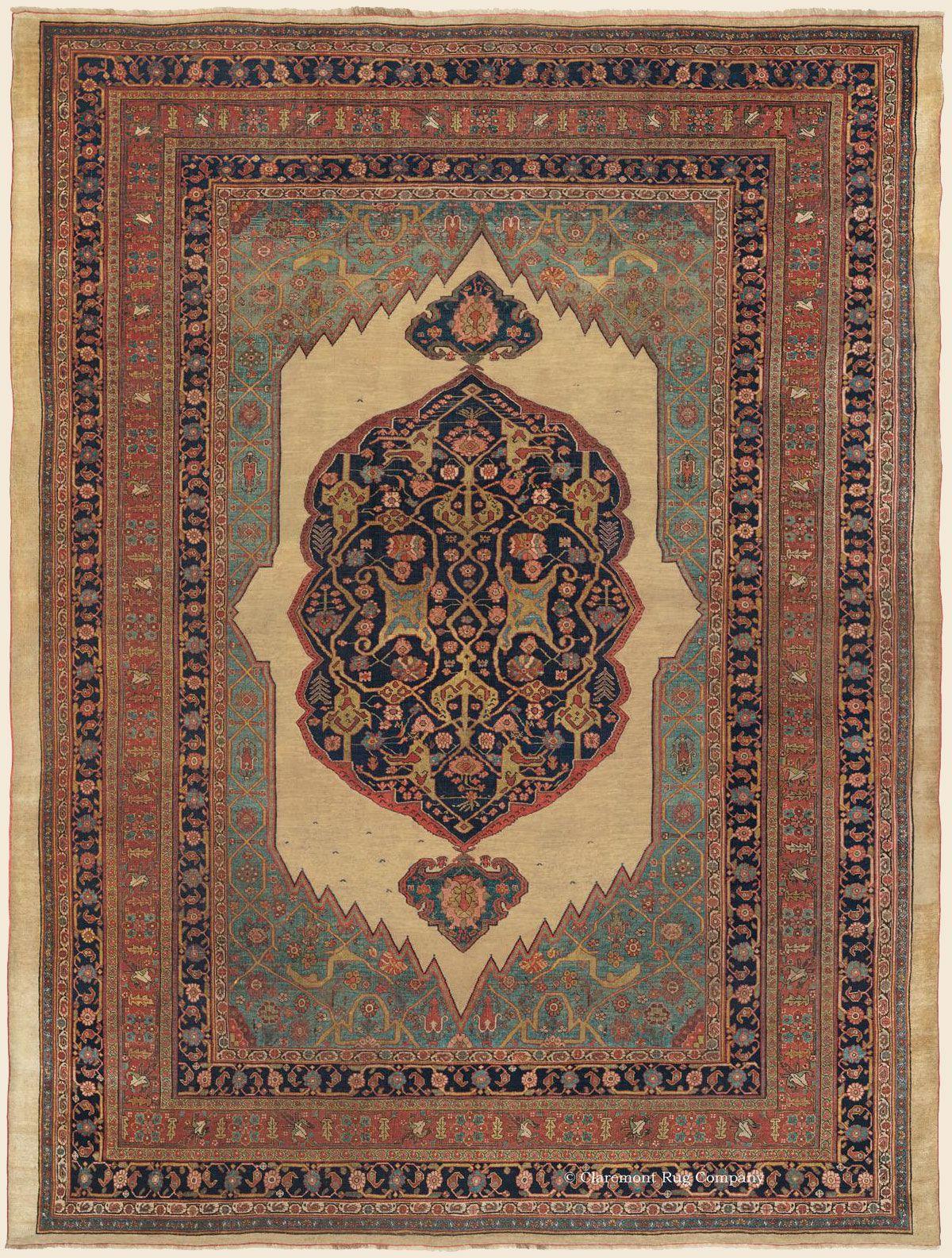 Halvai Bijar Bidjar Northwest Persian 9 8 X 12 10 Circa 1850 Claremont Rug Company Persian Carpet Simple Carpets Antique Persian Carpet