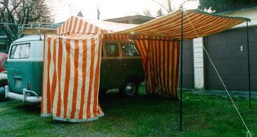 VW bus with attached large tent & Westfalia privy tent with awning - Volkswagen Westfalia Campers ...