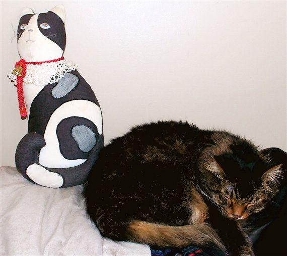 Tuxedo CatStuffed AnimalCharcoal And by RetroRockingCafe on Etsy, $8.00