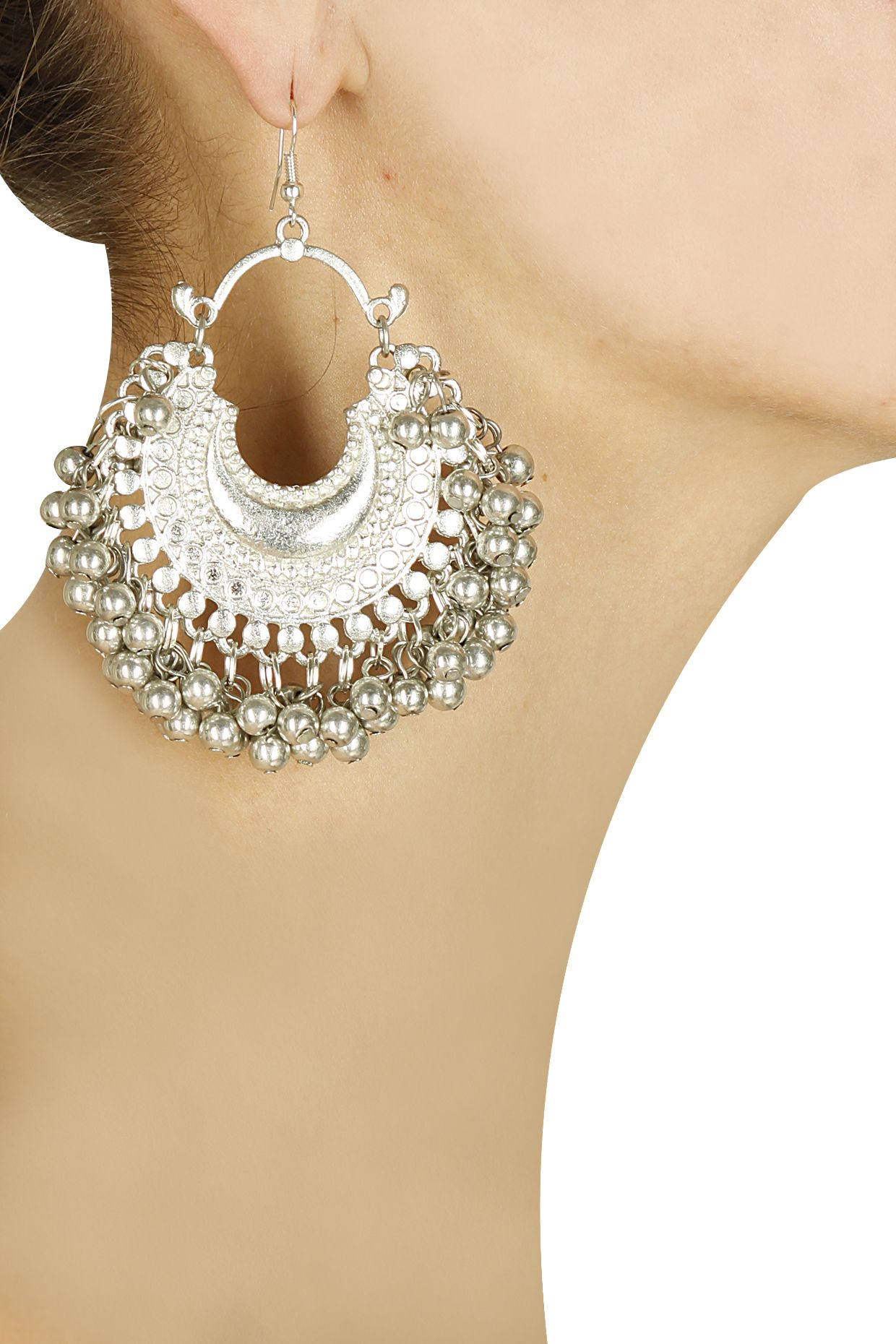 5e9663872 Silver plated crescent ghungroo earrings by Ritika Sachdeva. Shop now:  http://