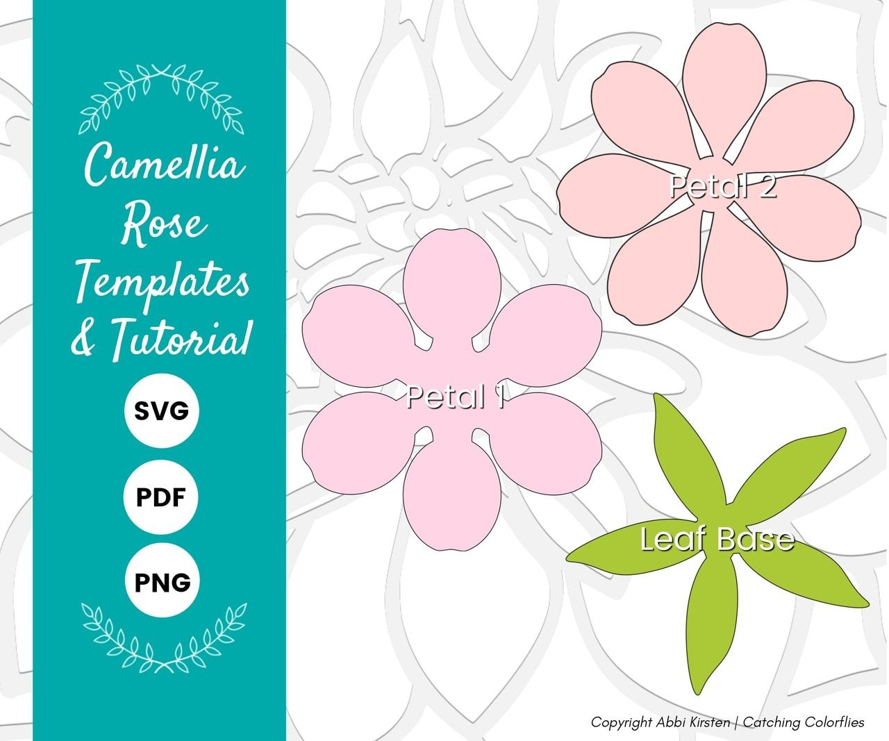 Camellia Paper Rose Template Paper Flower Template Diy Paper Flower Templates Flower Template