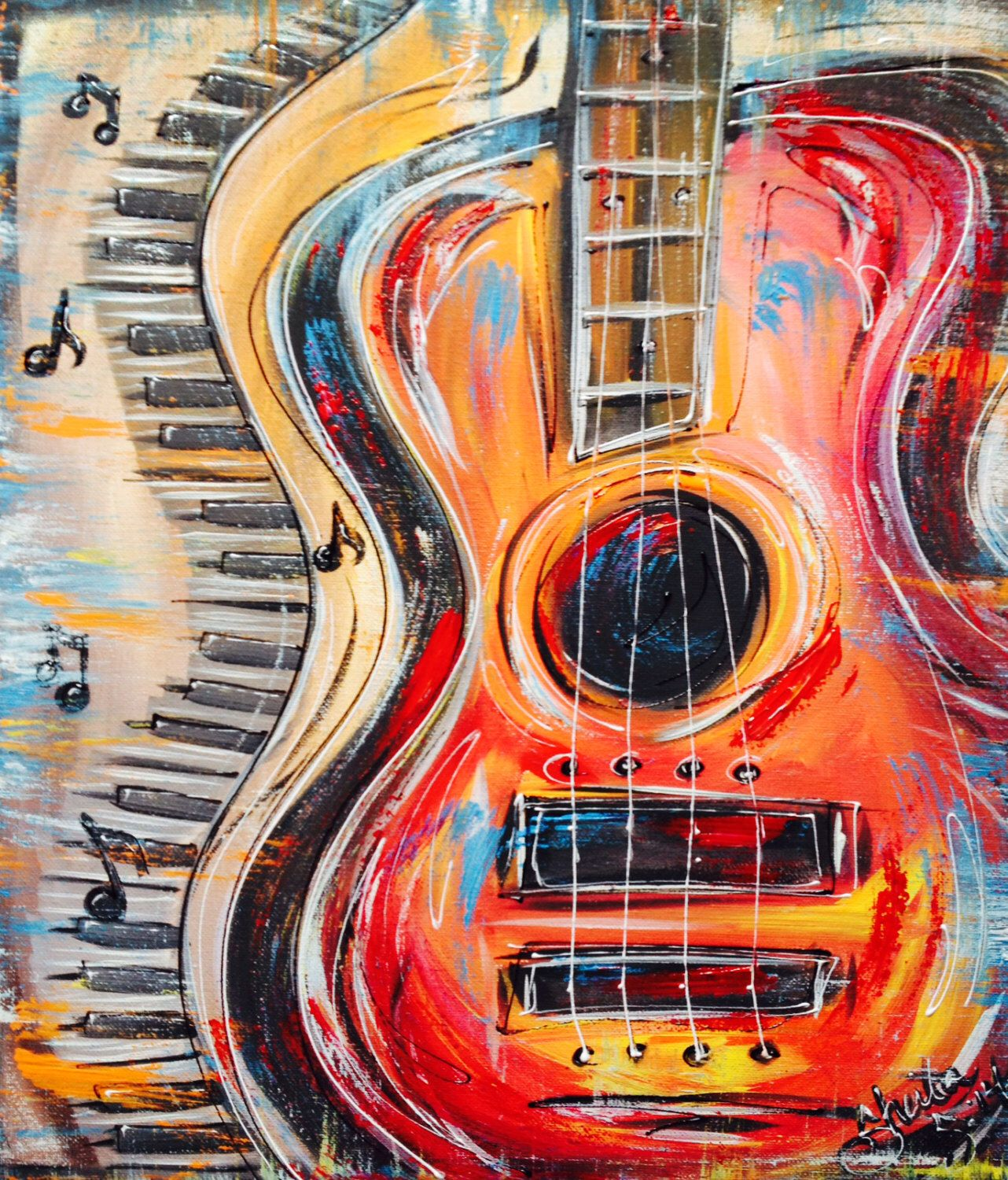 Funky Abstract, colorful Guitar and keyboard, with music ...