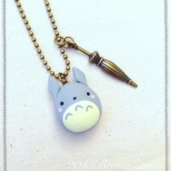 miyazaki ghibli totoro necklace polymer clay fimo necklace kawaii cute tonarinototoro my. Black Bedroom Furniture Sets. Home Design Ideas
