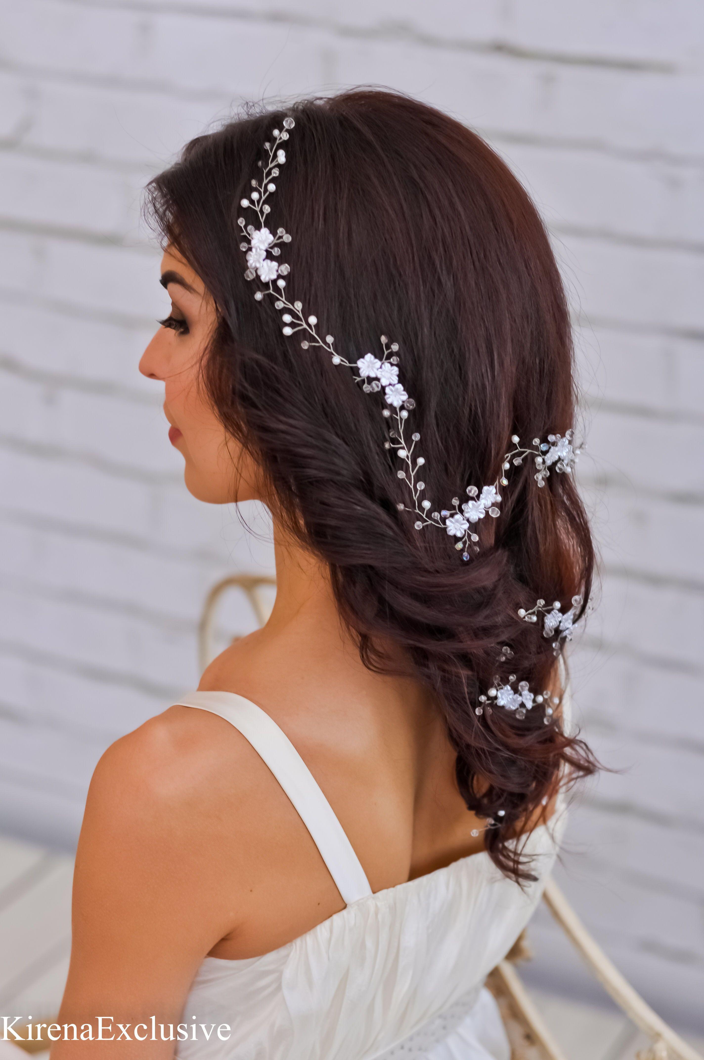 wedding hair vine with pearls