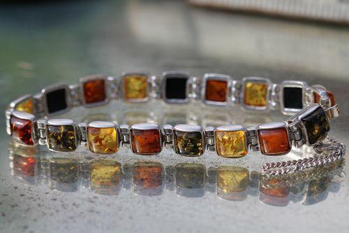 Vintage 925 Sterling Silver Tri-colored Baltic Amber Link Bracelet