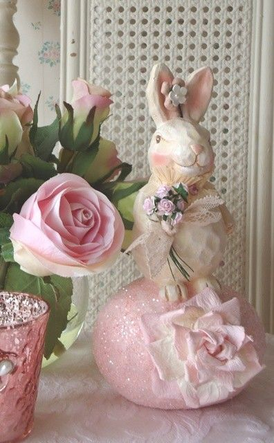 Easter Bunny On An Egg Shabby Pink Roses By Illusiveswan