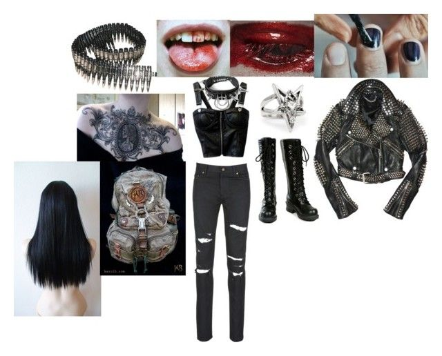 """goth outfit"" by monsterhex ❤ liked on Polyvore featuring Doppelganger, Bullet, Yves Saint Laurent, Kenzie and Nana'"