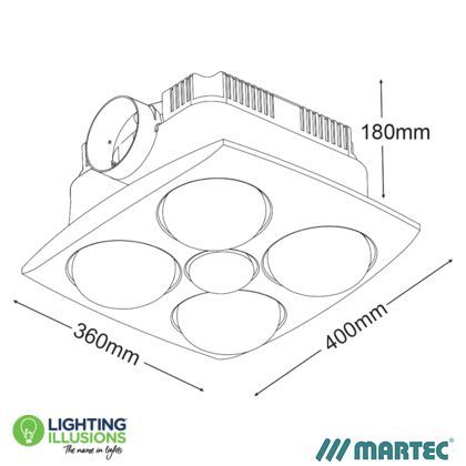 White Martec Contour 4 Bathroom 3 In 1 Exhaust Fan With