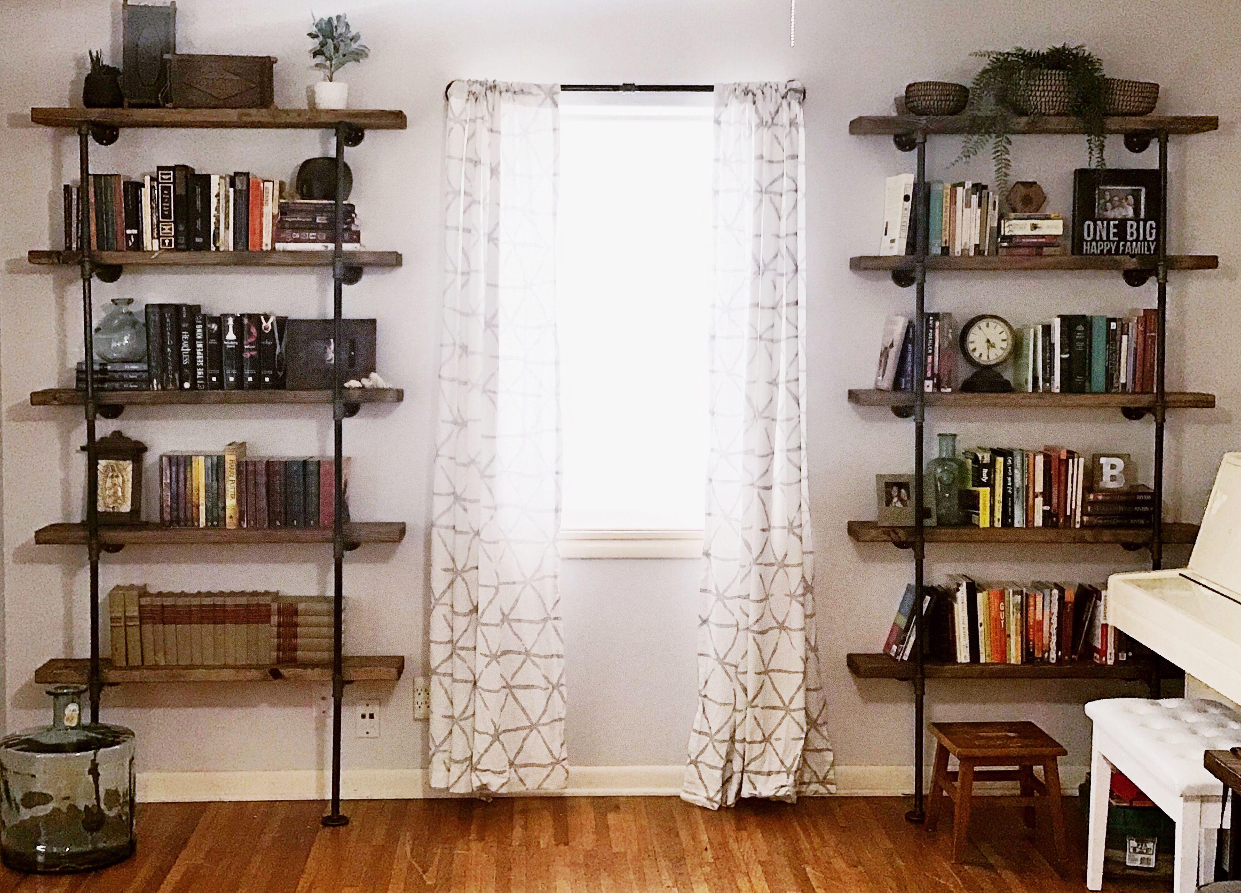 Living room industrial shelves for modern farmhouse look