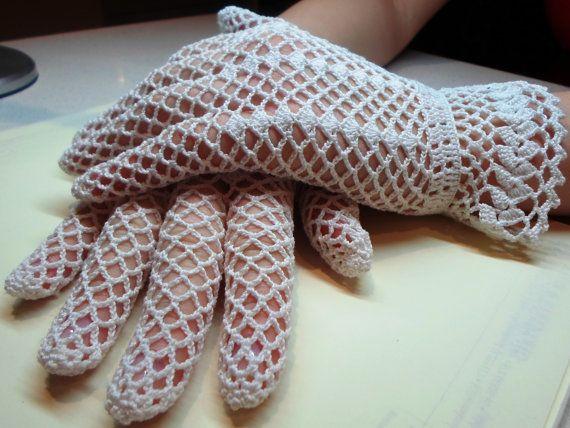 Vintage Style Crochet Lace Gloves, white, wedding
