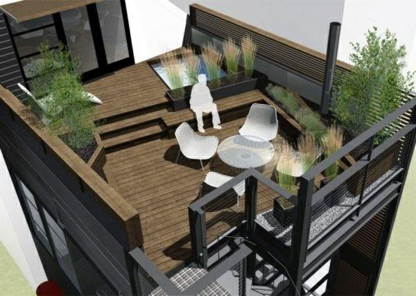 dachterrasse gestalten - ihre grüne oase im außenbereich ... - Terrasse Aus Holz Gestalten Gemutlichen Ausenbereich
