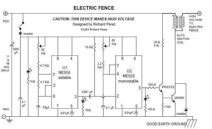 electric fence circuit diagram diy dryer outlet wiring 20kv pulses for perimeter defense pocketmagic