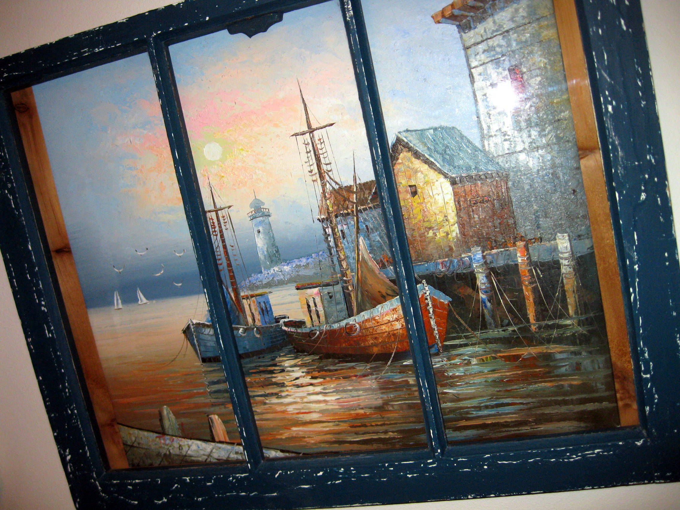 Old Window Reused As A Striking Frame For An Oil Painting 3 Strips Of Wood Were Screwed To The Back On Either Side And T Wood Projects Window Frame Painting