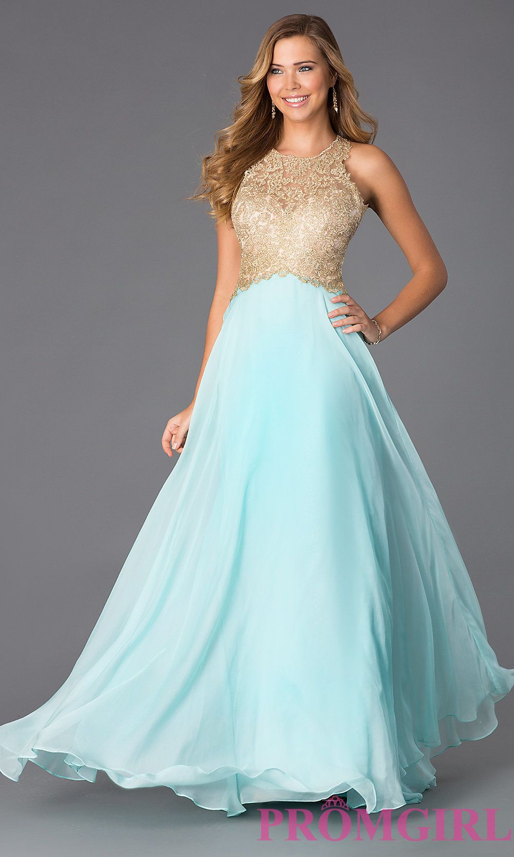Image of floor length aqua sleeveless gold lace bodice evening dress ...